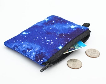 Women's Purse Night Sky, Nebula Fabric Coin Purse, Space Padded Zipper Mini Makeup Bag, OOAK zip pouch - black and blue galaxy with stars