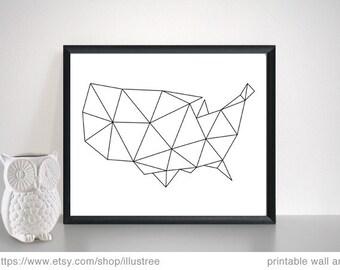 2 Abstract geometric USA maps, digital art print set, printable wall art, polygon, black and white, 10x8, 14x11, 20x16, instant download