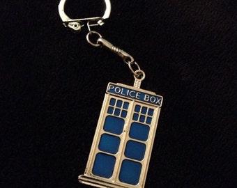 p 80 UK P & P Tardis hecho a mano inspiraron llavero bolsa clip zip clip plata policía azul caja caja encanto colgante del teléfono ** Reino Unido vendedor **
