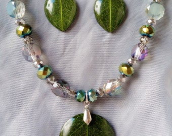 A Touch of Nature Beaded Leaf Jewelry Set Sterling Silver Necklace Earrings