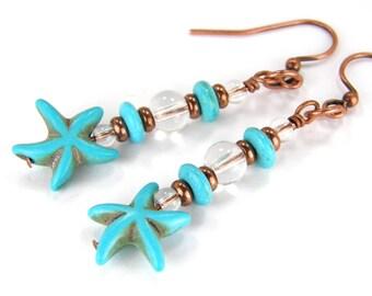 SALE - Turquoise Earrings - Starfish Earrings - Copper Earrings - Beach Earrings - Star Fish, Sea Earrings 014