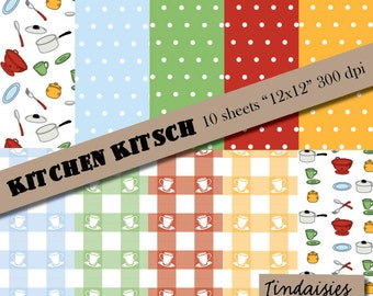 Kitchen Kitsch - Digital Scrapbook Paper - Package of 10
