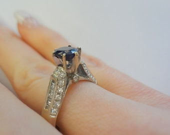 1ct Sapphire and Diamond 14kt Ring