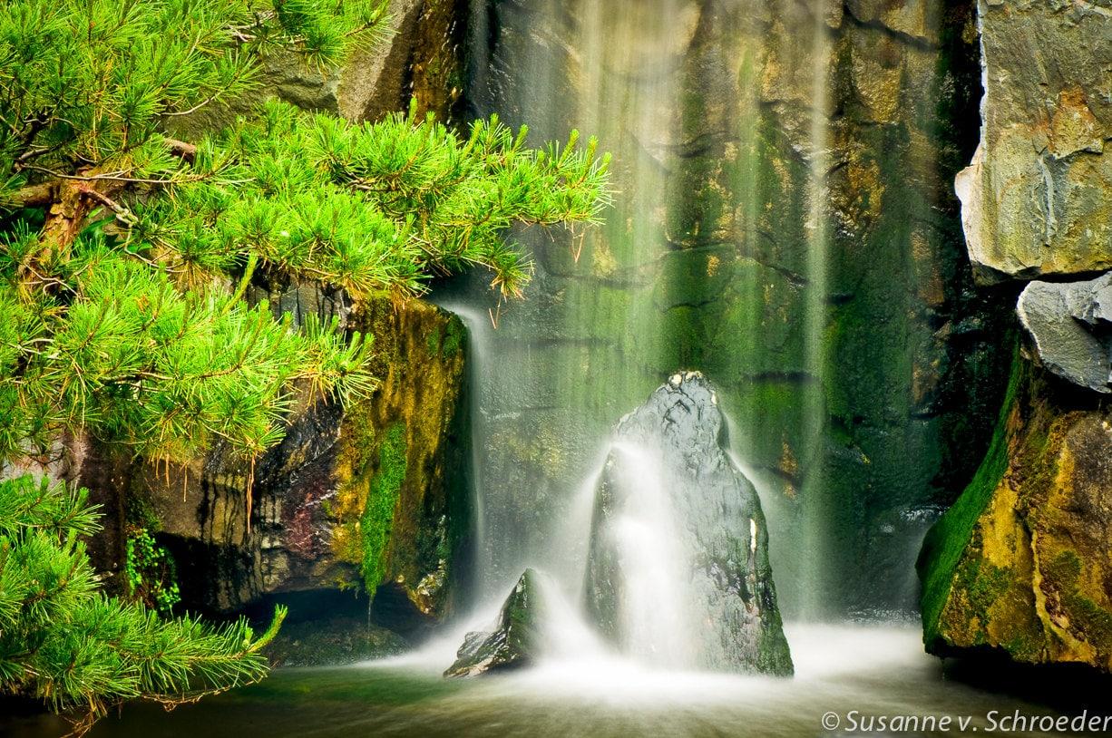 Waterfall Photography Japanese Garden Fine Art Print Zen