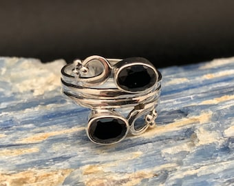 Triple Band Black Onyx Ring // Black Onyx Silver Ring // 925 Sterling Silver