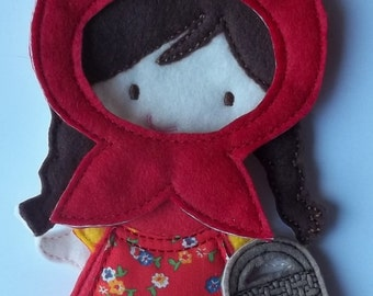 Felt Board Little Red Riding Hood Set Busy Quiet Book Red Riding Hood Doll (will substitue doll & do color changes free), Outfit, and basket