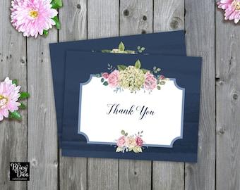 Blue Hydrangea Thank You Card - Custom Print