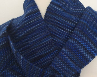 "Baby alpaca and cotton hand woven scarf ""midnight"""