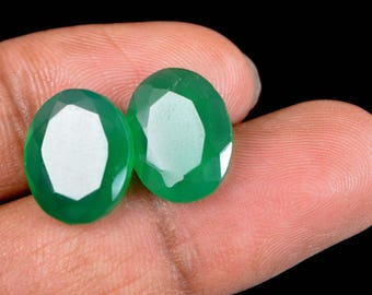 11.45 Ct Natural Oval Cut Green Onyx Emerald Loose Gemstone Matching Pair Christmas Gift