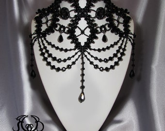 Statement necklace for woman Shoulder Necklace Black Necklace Victorian Chocker Black Lace Neck Corset Gothic Choker Beaded