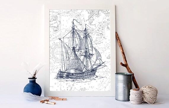Vintage Ship Print Nautical Nursery Decor Nautical Art