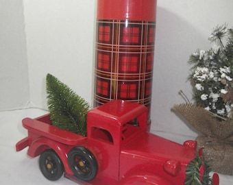 Red Holiday Truck Display ~ Christmas Truck ~ Farmhouse Christmas ~ Country Christmas ~ Christmas Mantel~ Bringing Home the Tree