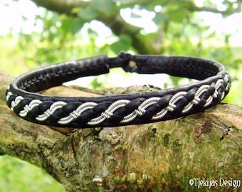 FENRIR Viking Bracelet - Black Leather Tennarmband - Nordic Folklore Leather Cuff - Choose between 30 Colors