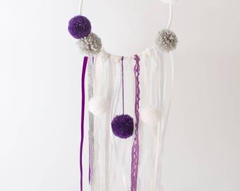 Princess dreamcatcher purple, grey and white pompoms