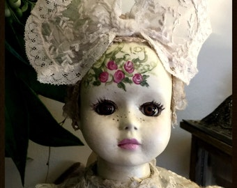 """Hand Painted Vintage Altered Bisque Doll """"Sissy"""" Beautiful!"""