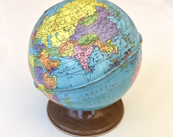 Vintage Ohio Art Tin Globe Bank