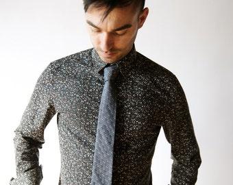 Chambray skinny tie, swiss dot tie ,denim tie, denim, wedding bow tie, custom bow tie, denim bow tie, freestyle bow tie, self tie, chambray