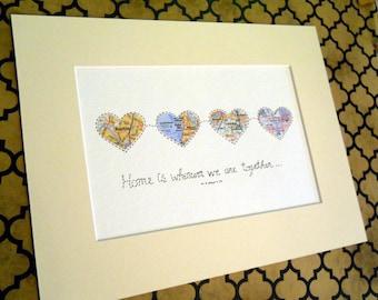 Anniversary Gift Map Art - Map Hearts Wall Art  - 9x12 size - Design #56