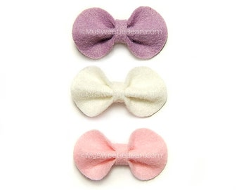 Felt Baby Bows, Mini Felt Hair Bows, 2 inch bows, Purple Felt Bow, Pink, White, No Slip Felt Snap Clip, Toddlers Girly Bow Set for Baby