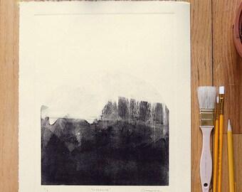 """ORIGINAL MONOTYPE, Yosemite inspired monotype, 11"""" x 13.5"""""""