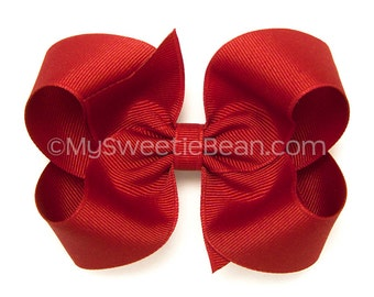 Tomato Red Boutique Bow, 4 inch Hair Bow, Warm Red Hairbow, Basic Hair Bows for Toddlers, Girls, Babies, Grosgrain Hairbow
