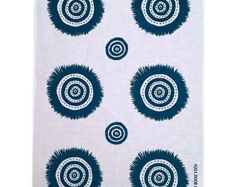SALE Navy blue Embellish linen tea towel (natural or off-white)