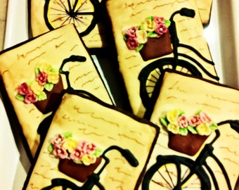 Vintage Bicycle Favor Cookies, Frame Cookies with Grunge Artwork Background- 1 Dozen, Birthday, Anniversary, Retirement Gift