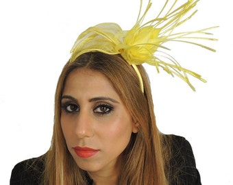 Yellow Rita Fascinator  Hat for Weddings, Occasions and Parties With Headband