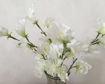 "White Sweet Pea Silk Flower Bush, Artificial, Faux, Silk Wedding Flowers - 22"" Tall"