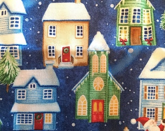 Christmas Patter Re-usable Gift Bags- Houses