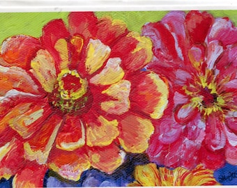 Zinnias Greeting Card, blank card with print from my original acrylic painting, colorful zinnia flowers card