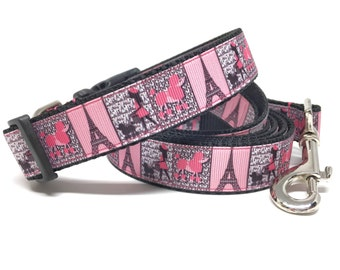 """Poodles In Paris Eiffel Tower Collar Leash Set - 1"""" wide Girly Dog Collar Leash - Personalized Dog Collar - Engraved Dog Buckle Optional"""