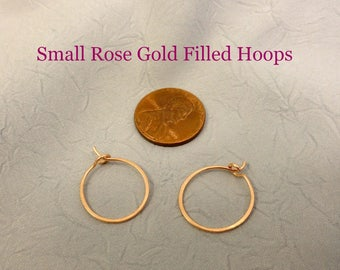Small Rose Gold Filled Hammered Earring Hoops