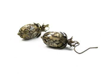 Vintage Style Betel Nut and Antiqued Brass Earrings, Black and White, Brass Bead Caps, Flower Earrings