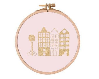 Rahmen Sie AMSTERDAM - zartrosa und Golden - Dekoration - Frame Stickerei - handgefertigte