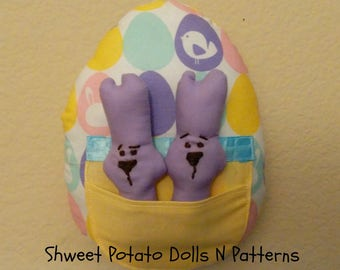 Shweet Easter Egg Bunnies, Pastel Large Egg with Bunnies Inserts, Door Hanger, Larger Ornament, Whimsical