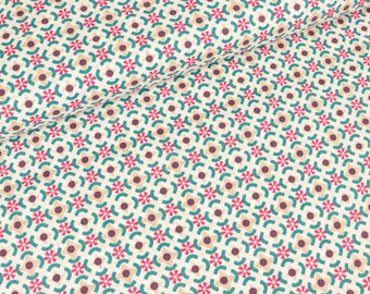 Cotton fabric Againeg Flower circles on white (8.90 EUR/meter)