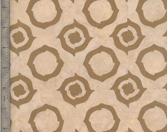 By The HALF Yard - BOHO Vibe Batiks by Fresh Water Designs for, #FWDBOV-05-012 Circle - Loft Space, Beige Modern Circles on a Tan Batik
