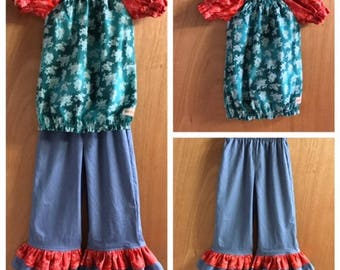 Cotton Top and Denim Ruffle Pants, size 6