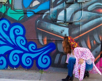 Wild Woman One-of-a-Kind Dandelion Goods Gypsy Bohemian Goddess Cape/Wrap/Hooded Shawl W/ Pockets