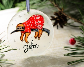 Funny Sloth Personalized Christmas Ornament, Funny Ornaments, Personalized Gift Custom Ornament