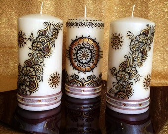 Mehndi For Candles : Party favor henna candles with ribbon and crystals set of
