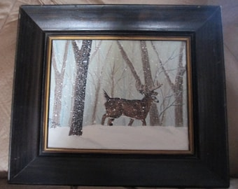 Whitetail Deer in the Snow Oil Painting