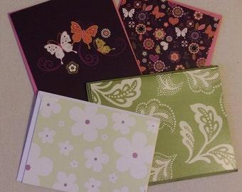Set of 4 Floral Notecards