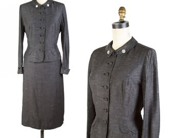 1950s Suit // Grey Tailored Classic Suit with Rhinestone Buttons