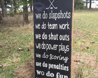 Rustic wood hockey sign, hockey plaque // in this home we do hockey sign, solid wood hockey sign, as seen on Dragons' Den sign