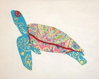 Green Sea Turtle 2 (blue) - original mixed media on canvas