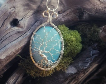Opalite Tree of Life Pendant // Fine Silver Wire Wrapped Jewelry