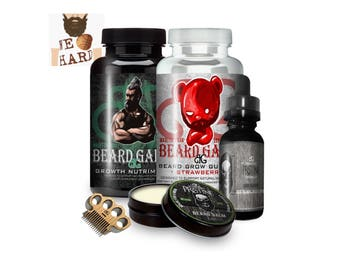 Ultimate Beard Growth Kit | No More Patches! -Grow Gift Set Includes: Balm, Oil, Vitamins, Mini Comb/Mustache Comb