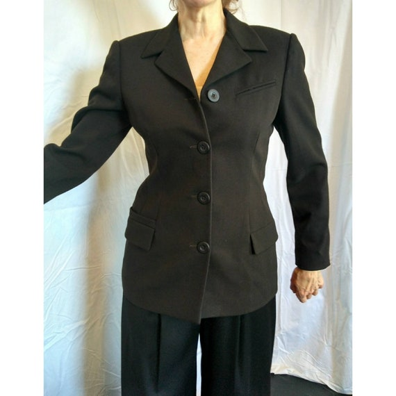 Vintage Versace 2 fitted structured brown wool jacket 1990s minimalist classic military